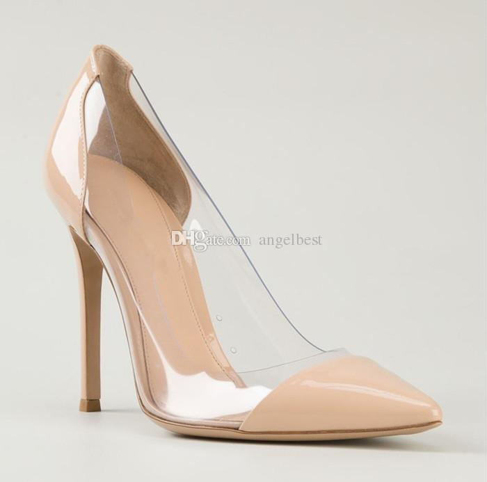 Sexy Pointed Toe Pvc Transparent Pumps Nude Color Office Ladies ...