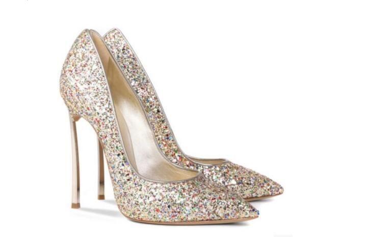 Sexy 10 CM Thin High Heels Pointed Pumps Metal Heel Stiletto Glitter Wedding Pumps Large Size 34 - 43 Black Golden Silver Heels Shoes
