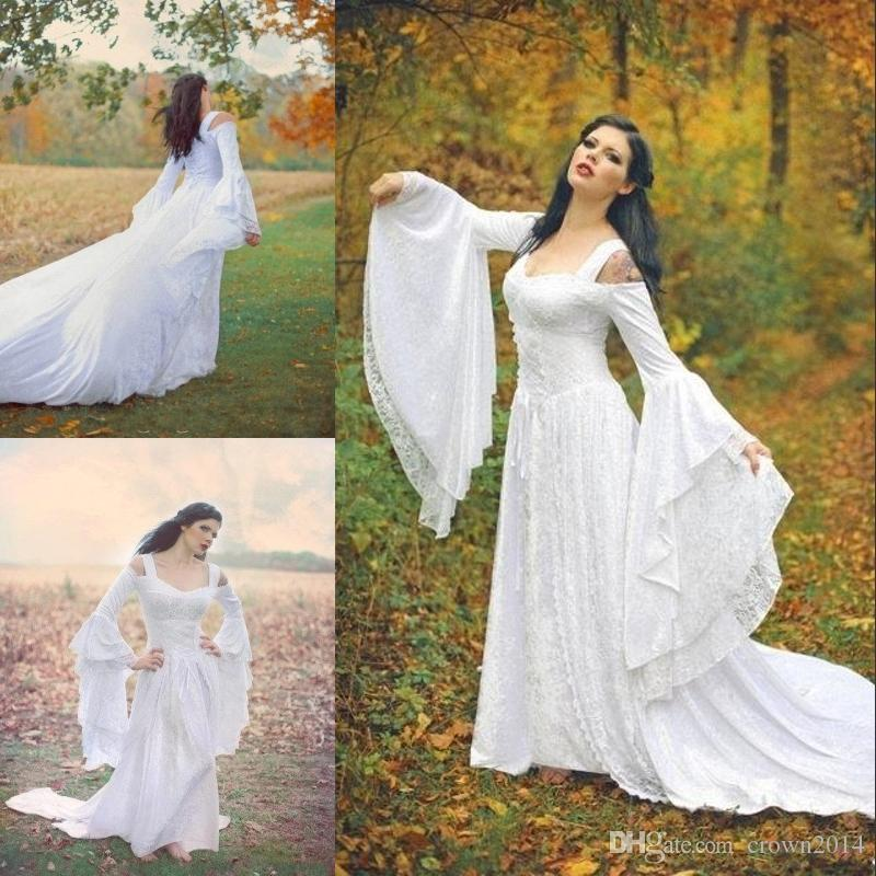 Discount 2018 Fantasy Fairy Medieval Wedding Gowns Lace Up Custom Made Off  The Shoulder Long Sleeves Court Train Full Lace Bridal Gowns High Quality  Chiffon ... 225c6ec6e194