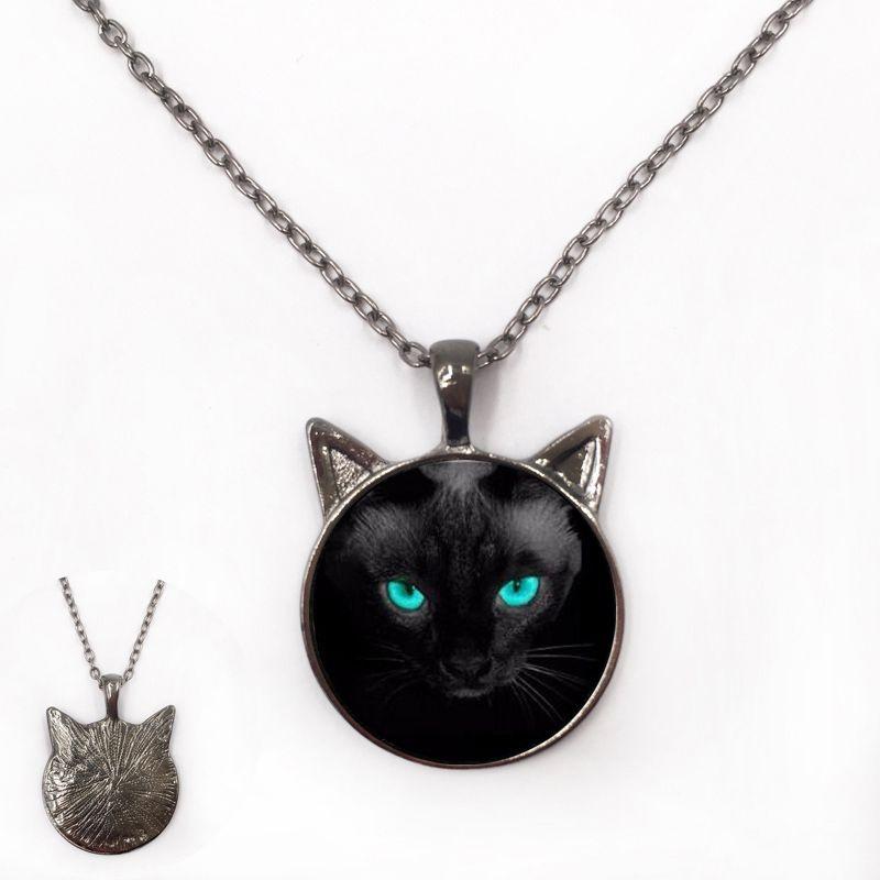 wholesale long eyelashes pendant blue eyed gray cat glass necklace fashion round pendant necklaces 2015 choker jewelry gift cheap pendant necklaces pendants