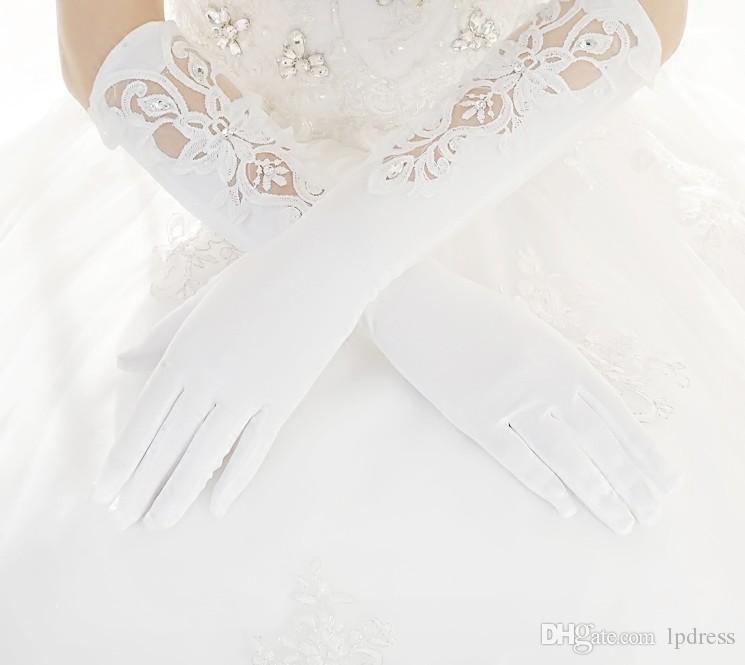 Ivoire Gants De Mariée Longue Accessoires De Mariage Sheer avec Applique Mariage Glvoes 2017 Nouvelle Arrivée Pas Cher Livraison Gratuite