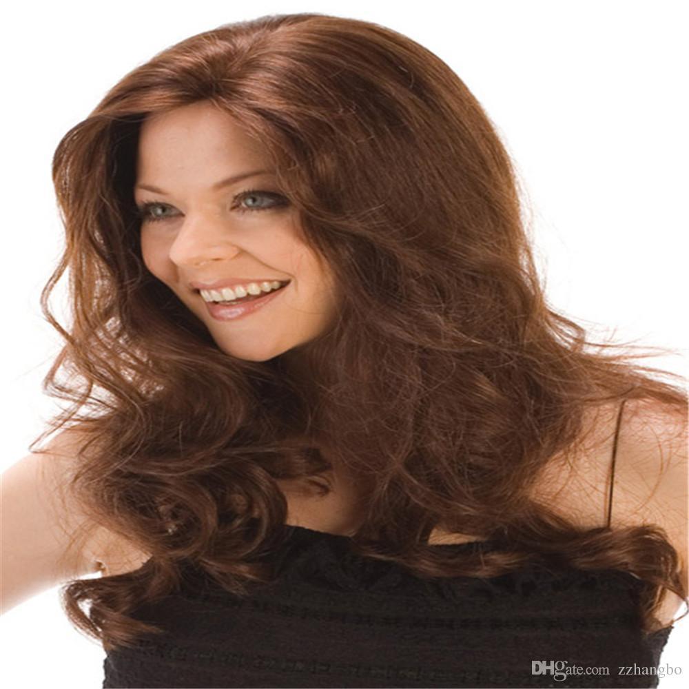 Full Lace Wigs peruvian hair wig Full Lace Human Hair Wig Senior silk Long Wavy Brazilian Virgin Hair 100% With Bangs For women Color 33#