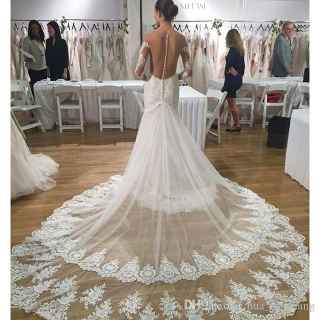 Свадебные платья русалки 2016 с слоями тюль издевался на разведках с длинными рукавами и ременькой поезда свадебные платья