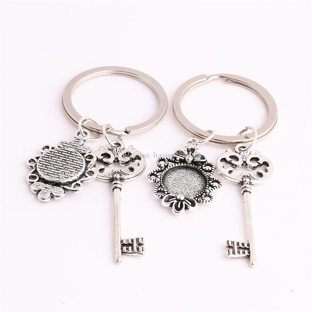 SWEET BELL Metal Alloy Zinc Key Chain Fit Round 12.5mm Cabochon Base Hollow Key Charm Pendant Jewelry Making C0903