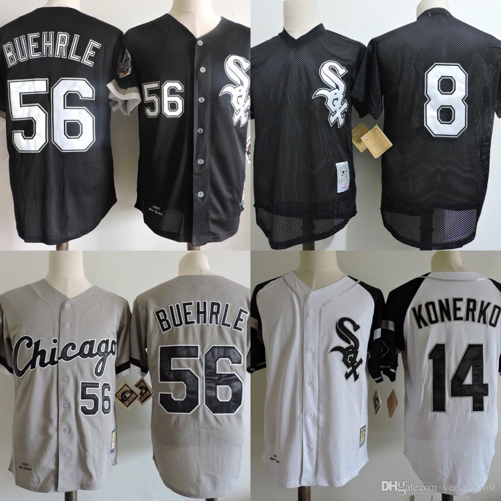 2018 56 mark buehrle chicago white sox jerseys 14 paul konerko 2005 8 net cloth set head throwback baseball jersey stitched cheap baseball jersey from