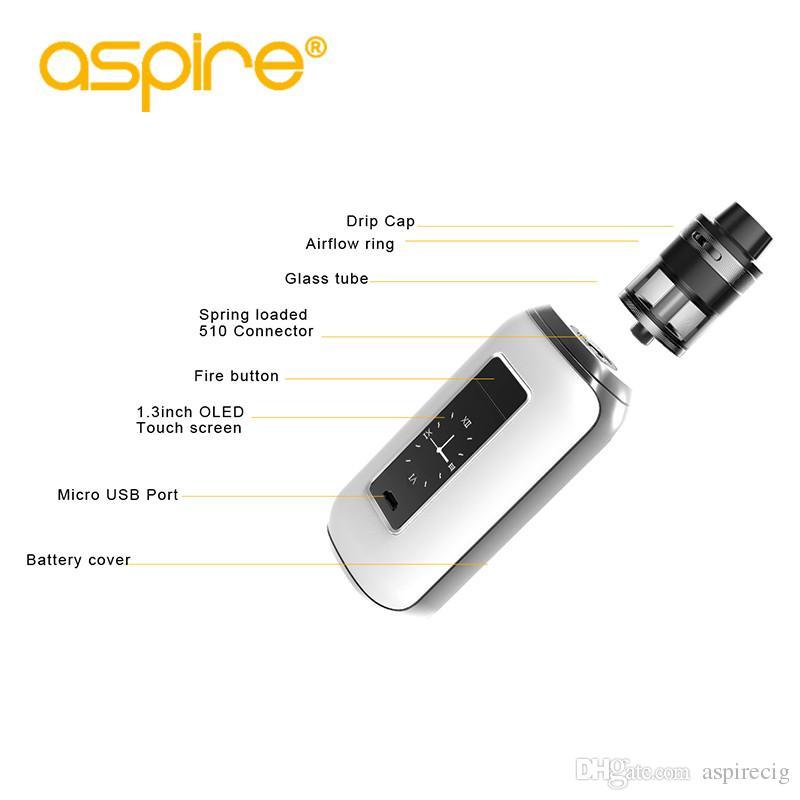 Aspire SkyStar Revvo Kit w/Revvo Tank 2.0ml TPD touch screen TC 210W vape mod dual 18650 cells e cigarette Kit Original