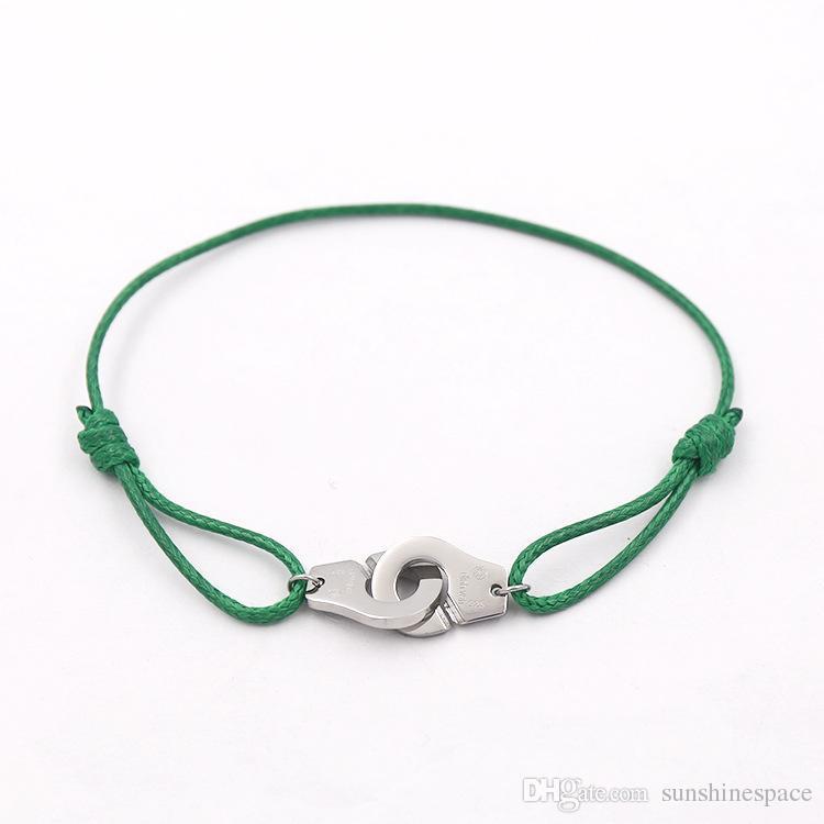 Modemarke Frauen Liebhaber Armreif Handgemachte Seil Kette Armband Charme Titan Edelstahl drei kreise Mit Logo