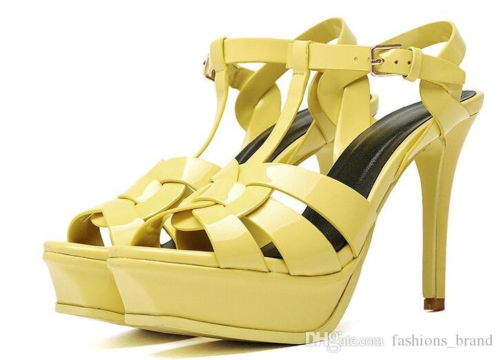 Fashion tribute patent leather paltform high heel sandals Sexy Gladiator Sandals new design ankle strap pumps women open toe dress shoes