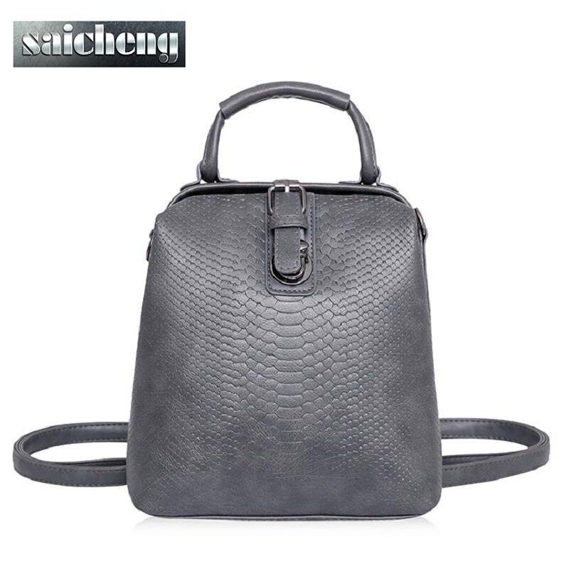 Wholesale New Hot European Style Women Crocodile Pattern Doctor Women  Backpack 2016 Famous Hasp Belt Bags Women S Pu Leather Rucksack Bag Womens  Backpacks ... 99b8c36d8d