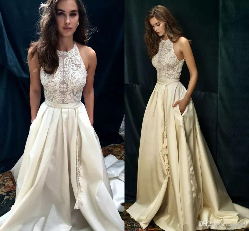 Старинные белые кружева Boho пляж свадебные платья на заказ Сексуальная Холтер линия платье Dolce vita по Lihi Hod свадебное платье