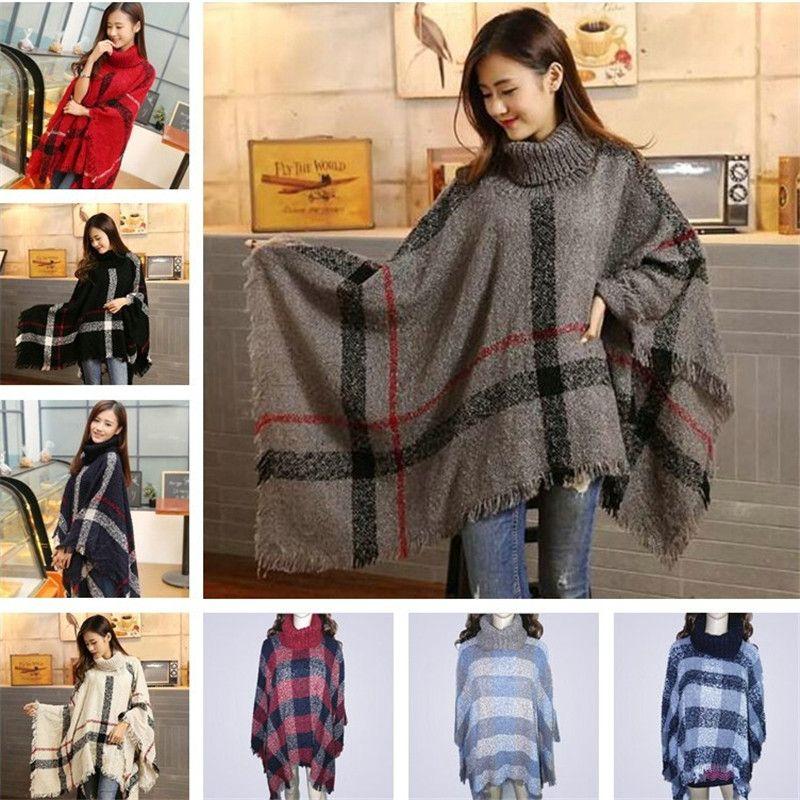 Women Poncho Coat Plaid Ponchos Shawls Blanket Scarves Tartan Scarf Fashion  Grid Wraps Cape Cloak Sweater Womens Gift Scarve Black Scarf From  Appletree  88757b9f29