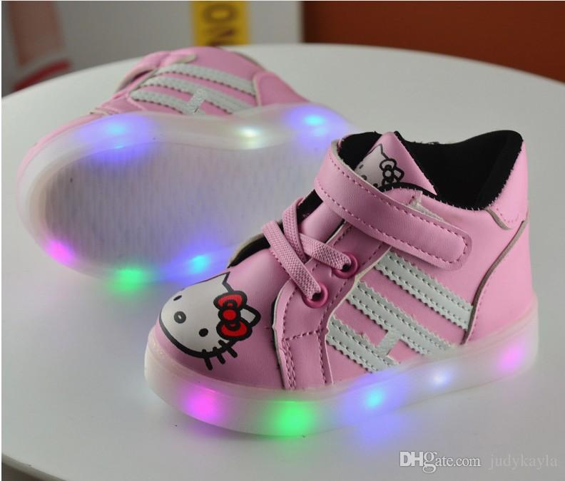 8577a3616 2017 New Girls Led Lighted Shoes Kids Cartoon Hello Kitty Luminous Sneakers Cute  Girl Casual Shoes Children Sports Sneakers 21 30 Childrens Tennis Shoes Buy  ...