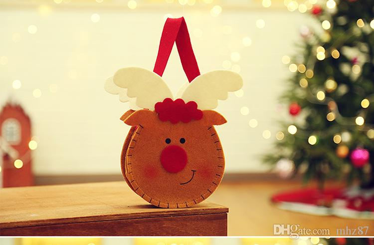 Yaratıcı Noel Yeni Yıl Şeker Çanta Asılı Noel Hediye Çanta Noel Baba Kardan Adam Elk Şeker Çanta Yılbaşı Dekoru