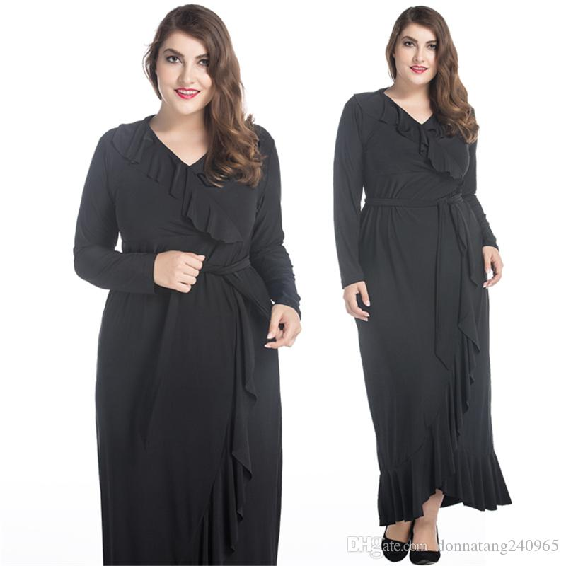 0717c1b1a36 Big Size Dress 8XL Middle East Muslim Long Sleeve Lotus Leaf Ruffled Dress  Oversize Large Loose Fat Women Dresses Corset Dresses Dresss From  Donnatang240965 ...