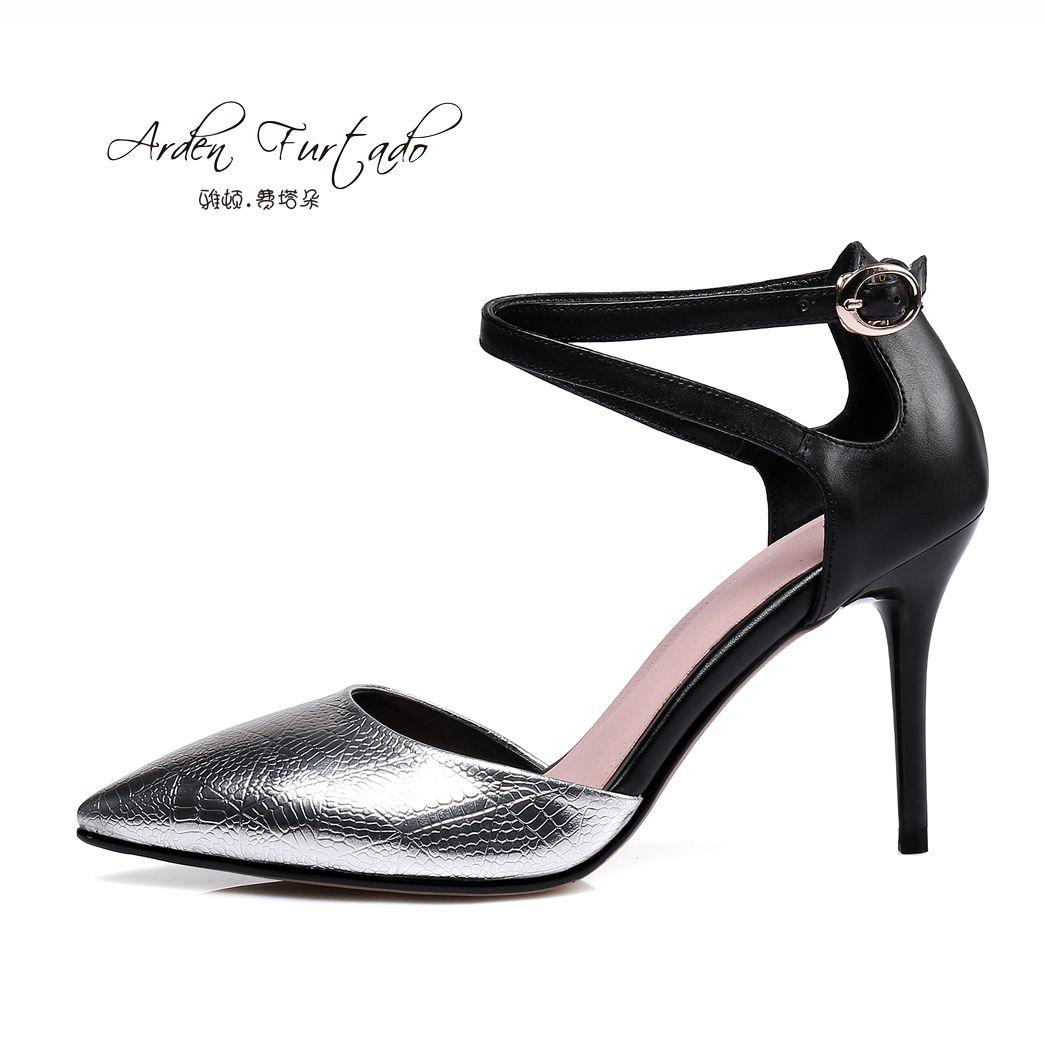 70232f2a2db Arden Furtado 2017 Summer Fashion Stiletto Heel Sandals Genuine ...