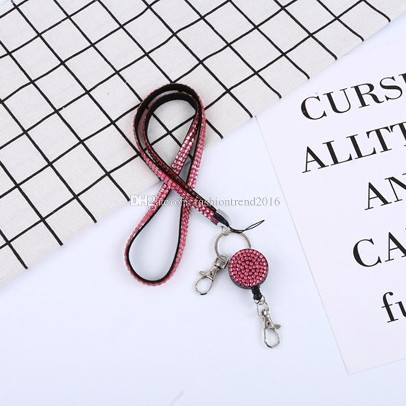 Neck Lanyard ID Retractable ID Insignia Reel Crystal Rhinestone Phone Key Holder