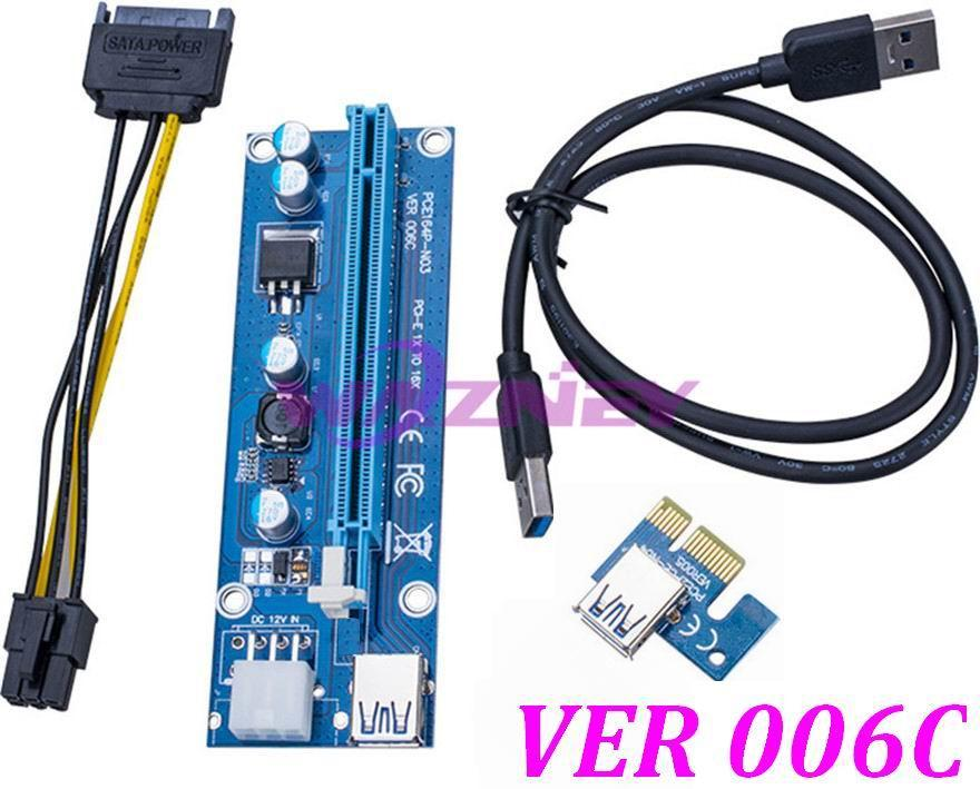 Pci E 1x To 16x Riser Card + Usb 3.0 Data Cable Sata 15 Pin To 6 Pin ...