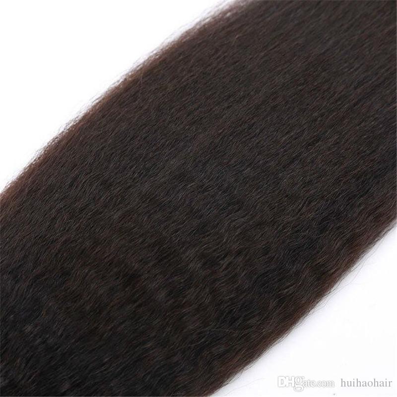 8A Malaysian human hair Unprocessed kinky straight yaki natural color three bundles hair double weft