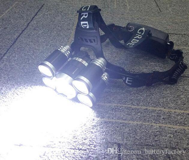 5 الصمام العلوي 8000 لومينز كري XM-L T6 رئيس مصباح عالية الطاقة الصمام كشافات + 2 قطع 18650 بطارية + شاحن + شاحن سيارة