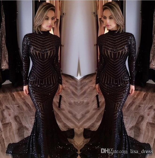 Sexy Black Mermaid Evening Dresses 2017 Newly High Neck Long Sleeves Sequined Prom Dresses Sweep Train Celebrity Red Carpet Gowns Custom