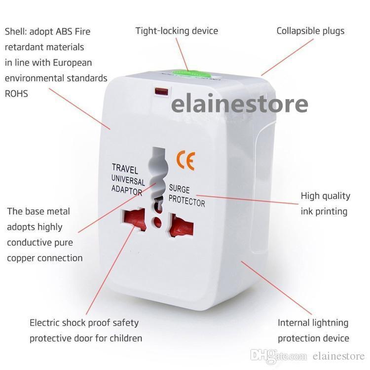 Alimentatore universale da viaggio caricabatterie da muro spina Surge Protector Universal International Alimentatore da viaggio plug US UK EU AU AC Plug