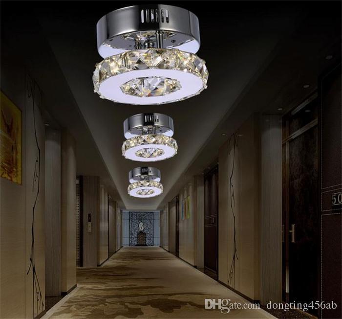 Минималистский одно кольцо d17cm Кристалл потолочный светильник светодиодный проход огни коридор из нержавеющей стали главная балкон столовая освещение