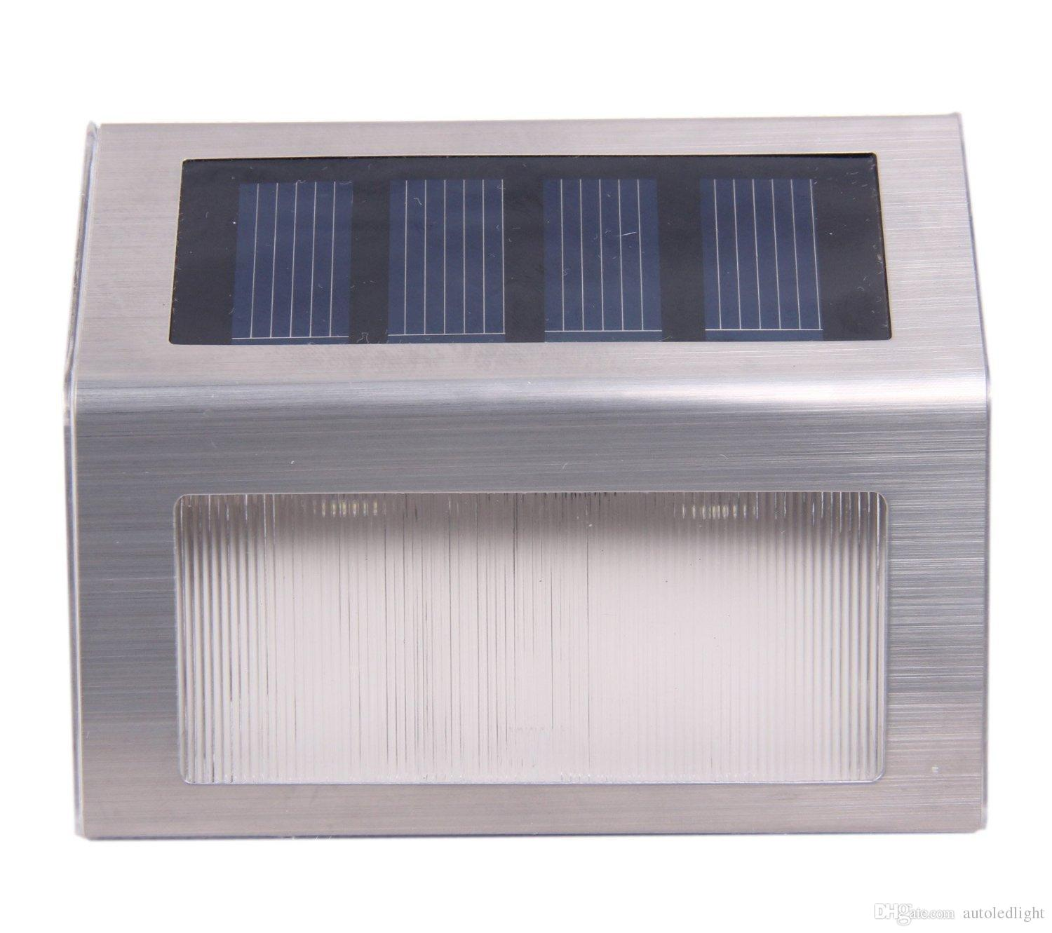 Outdoor Wall Lamps Stair Lights Outdoor LED Step Lighting 2 LEDs Stainless Steel For Steps Paths Patio Decks Solar Wall Lamps Solar Lights