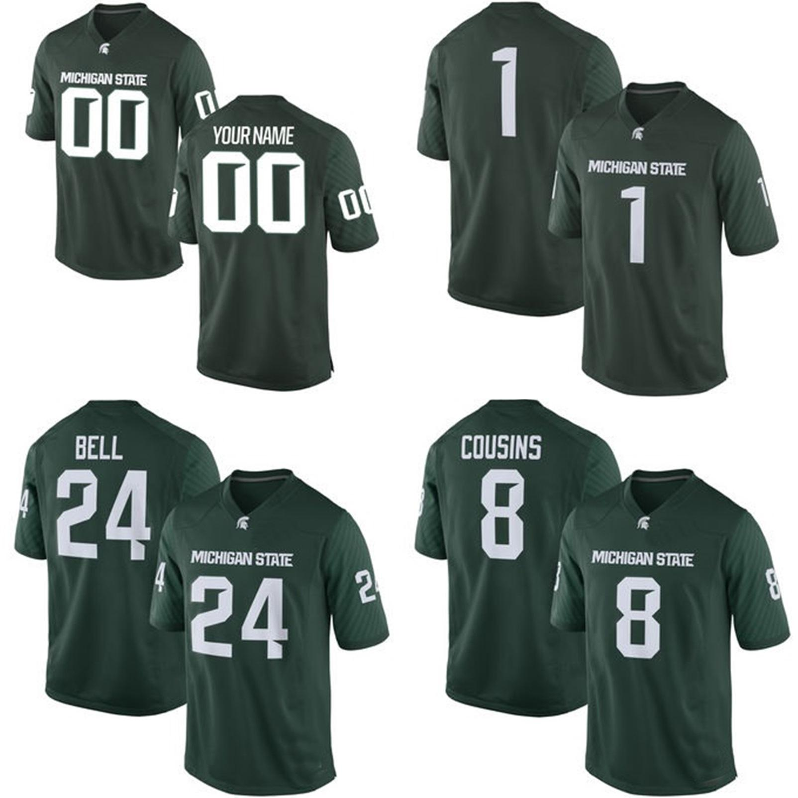 a22e25a0547 NCAA Michigan State Spartans Mens Womens Kids 8 Kirk Cousins 24 Bell Jersey  100% Stitched Custom Any Name Any No. College Football Jerseys Michigan  State ...