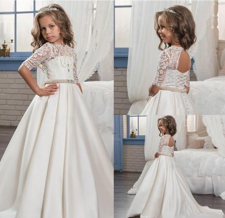 2017 Custom Princess Half Sleeve Holy Lace White Communion Dress ...