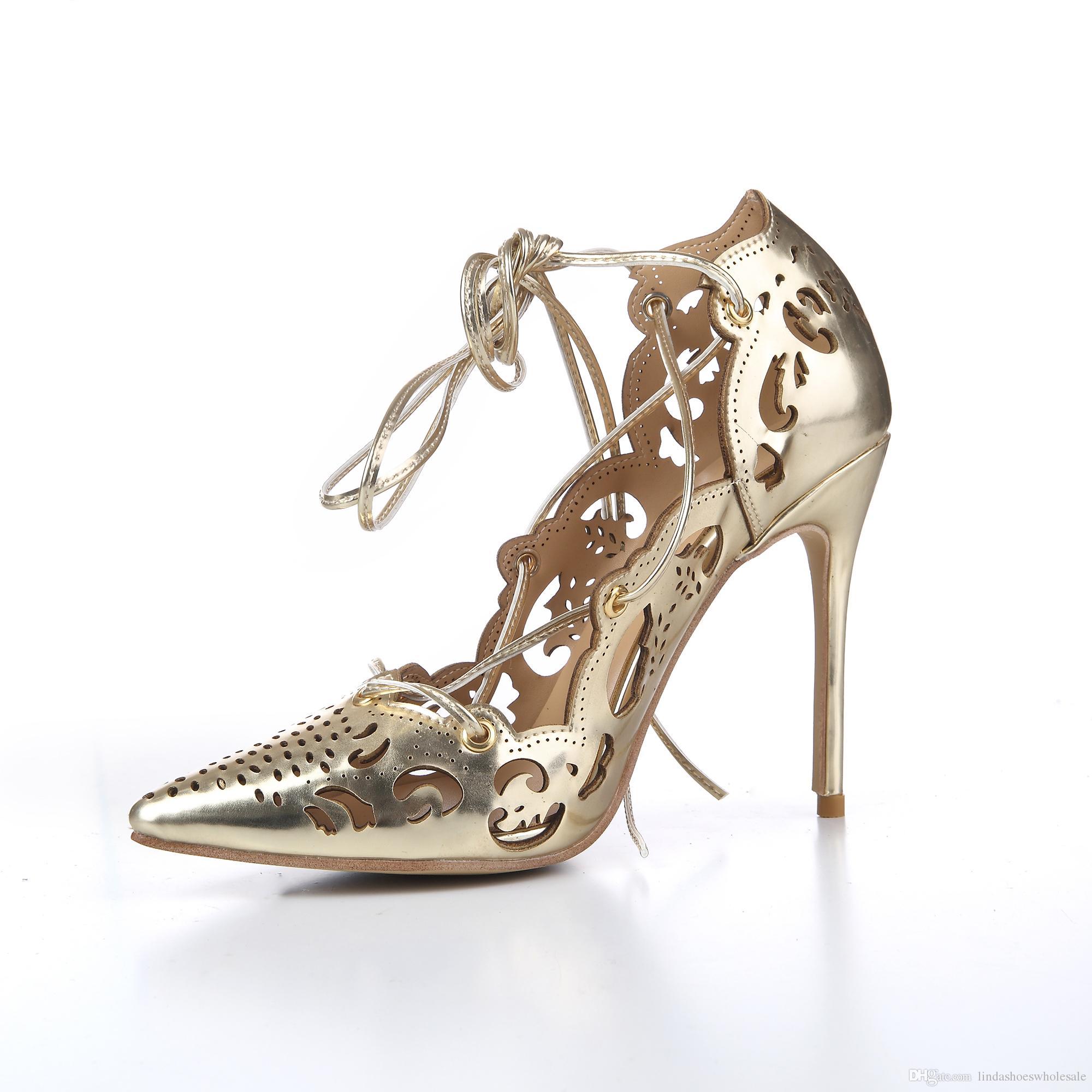 gold lace pumps