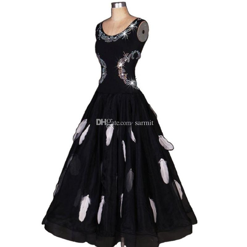 Ballroom Waltz Dresses Sale Ballroom Competition Dress Tango Dancing Outfits Costumes D0253 Rhinestones Feathers Big Sheer Hem