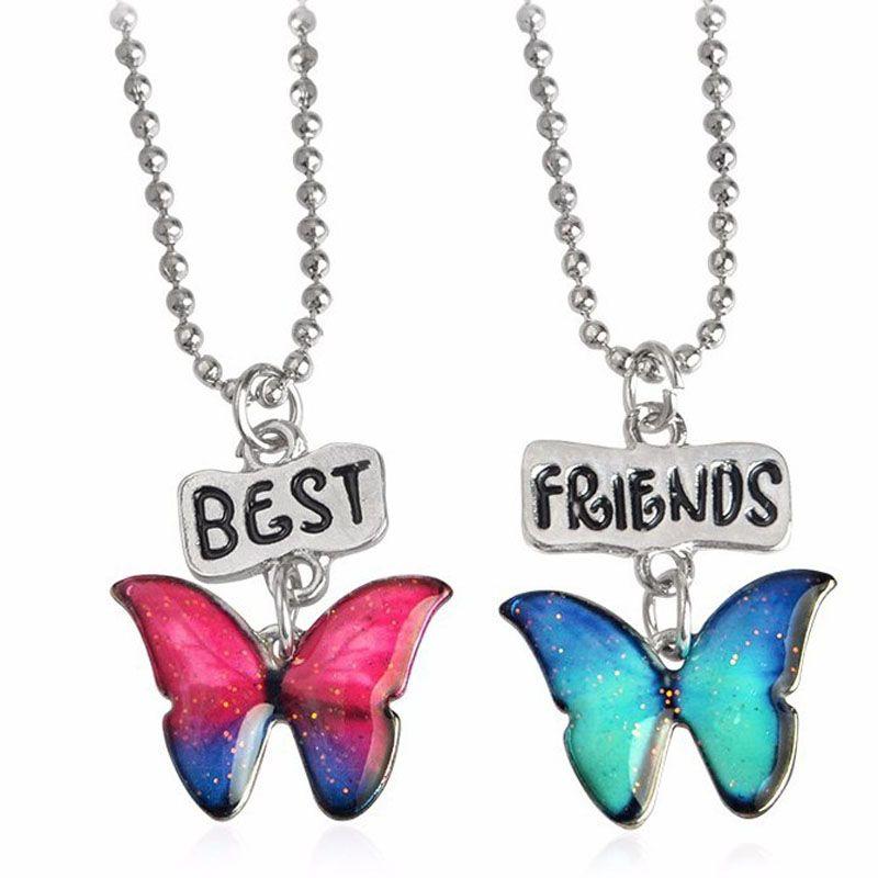 Enamel Butterfly Pendant Best friends Friendship Necklace Fashion Jewelry Sets for Women Kids Christmas Gift