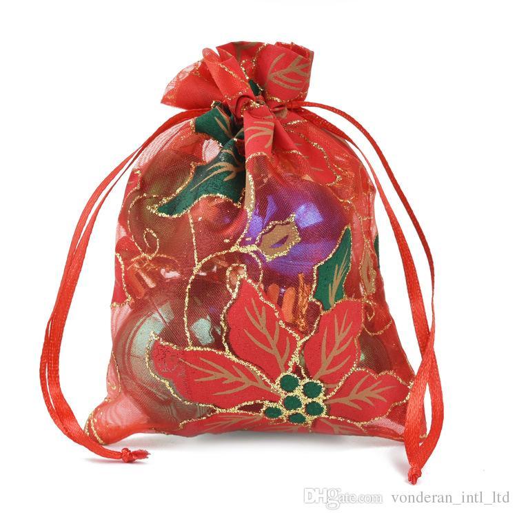 Noel Organze İpli Hediye Torbalar hediye paketleme çantası hediye ambalaj poşetleri sarma