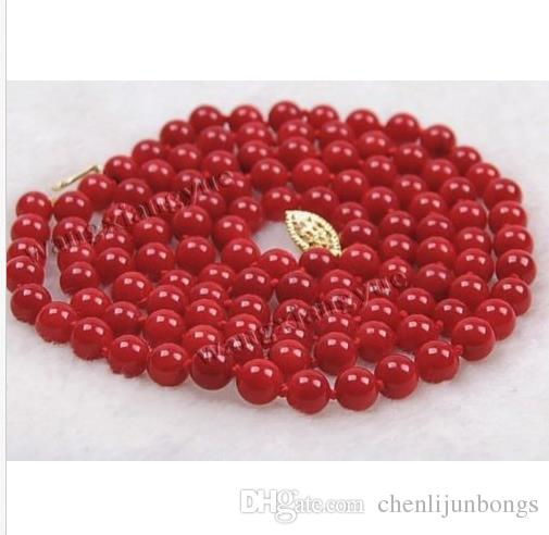 35 inch Genuine Charming AAA 6mm south sea red coral necklace 14K Gold Clasp