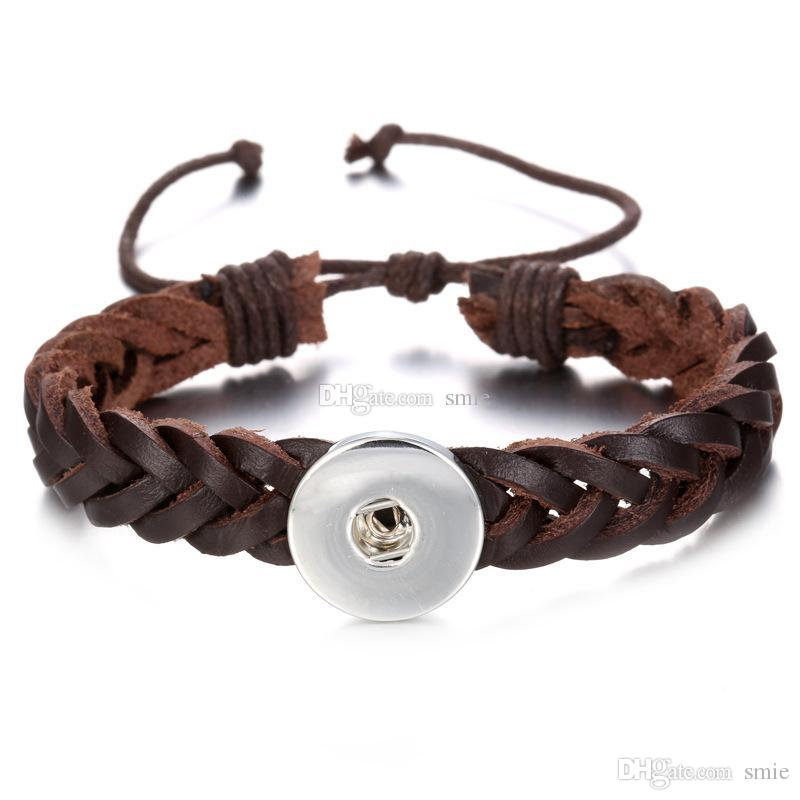 Noosa Chunks Snap Button Charm Leather Weave Bracelet Bangles For Women 18mm Rivca Ginger Snaps Button Jewelry SZ0340