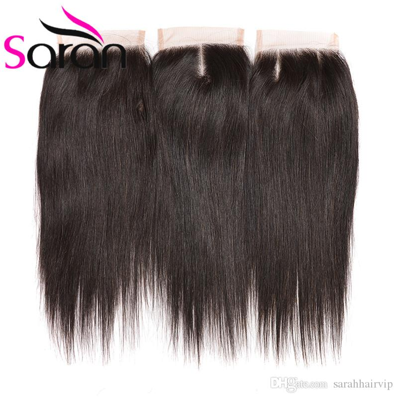 8A Brazilian Straight Hair Bundles with Free Lace Closure Unprocessed Malaysian Peruvian Indian Cambodian Human Hair Weaves Closure For Sale