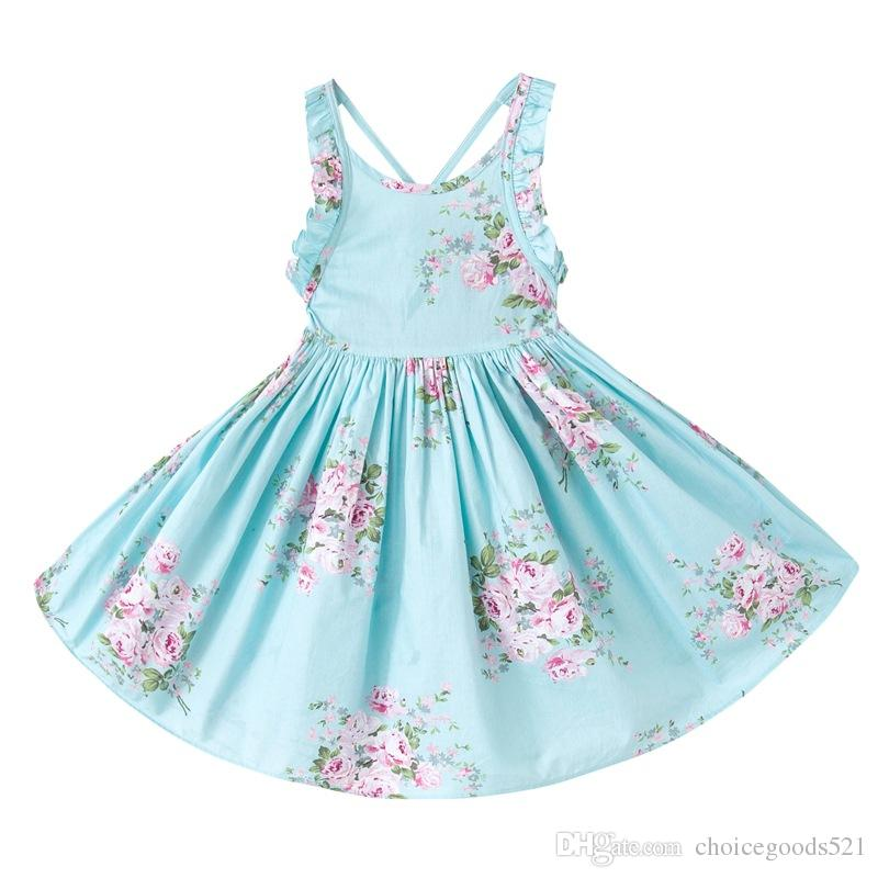 066602417b96 2019 Baby Girl Toddler Kids Adults Summer Clothes Pink Blue Rose Floral  Dress Jumper Jumpsuits Halter Neck Ruffle Lace Sexy Back Wide From  Choicegoods521