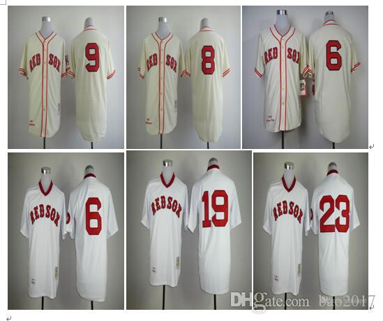 eb56b6e32 ... Cream Cooperstown Collection Stitched Throwback MLB Baseball 2017 Throwback  Baseball Jerseys Boston Red Sox 9 Ted Williams 8 Carl Yastrzemski 6 Johnny  ...