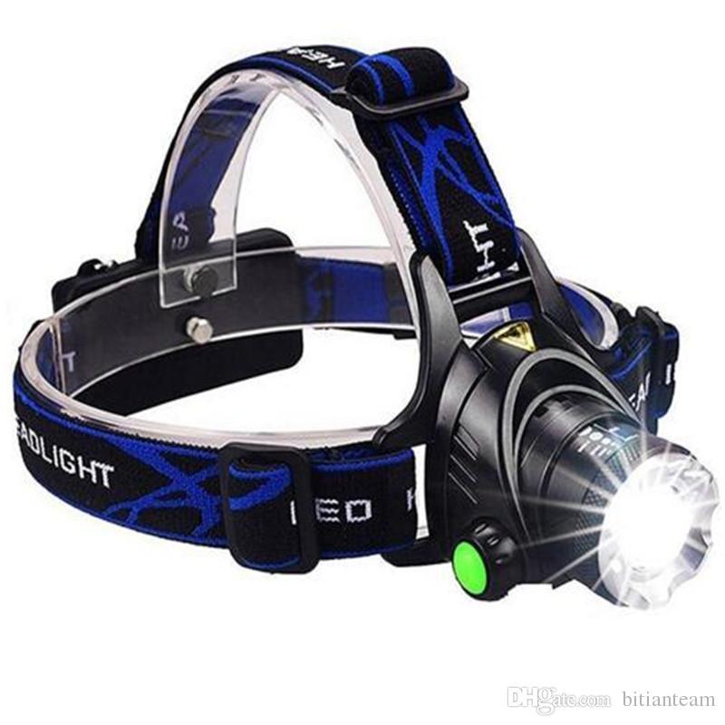 Faro potente CREE XML T6 Tari Zoom impermeabile 18650 batteria ricaricabile Lampada frontale a LED Bicicletta da campeggio Luce da escursione