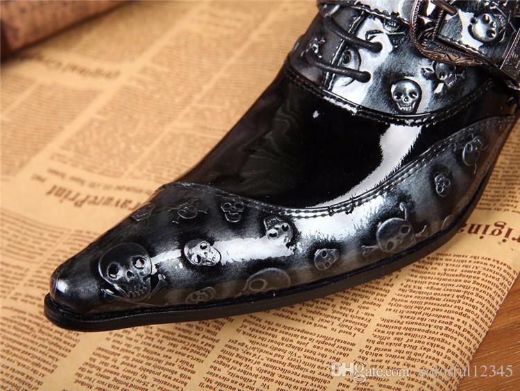 Moda sapatos formal dos homens novos couro genuíno do crânio sapatos pretos Flats homens macho Oxfords calçados