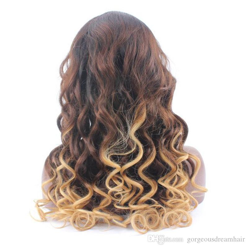 Hot Sale 3 tone Ombre human hair Glueless Full lace wigs and Lace front wigs for black women