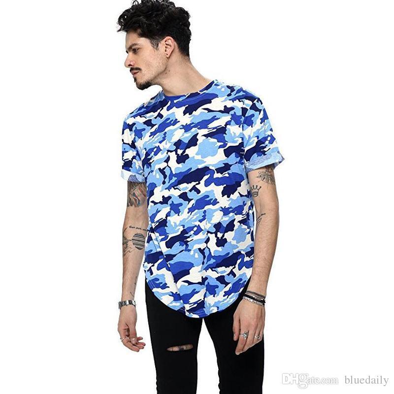 Fashion Men Camo Printed Brand Clothing T Shirts Summer Short Sleeve Design Extend Hip Hop Street T-shirt
