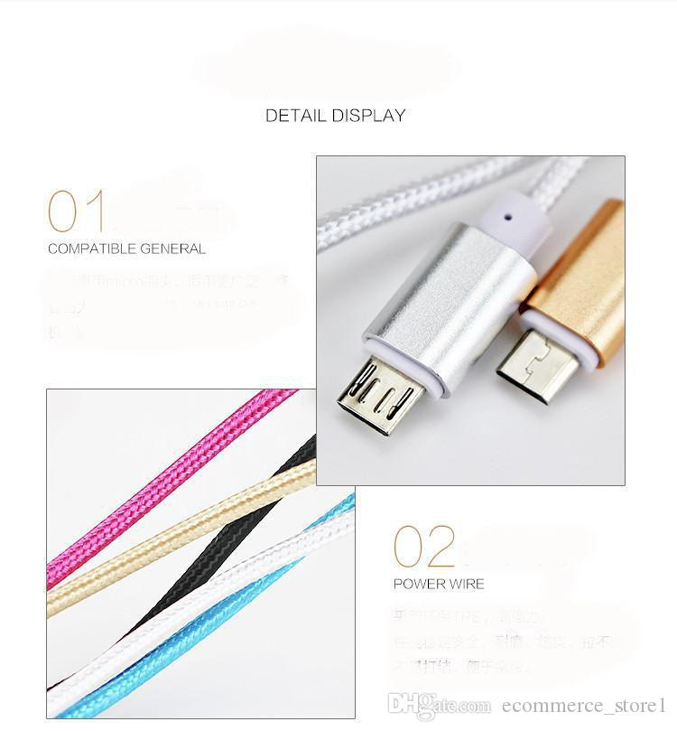 1.5M Long Strong Braided USB Charging Cable For Smart Phones Samsung HTC Sony LG Micro USB Wire With Metal Head Plug