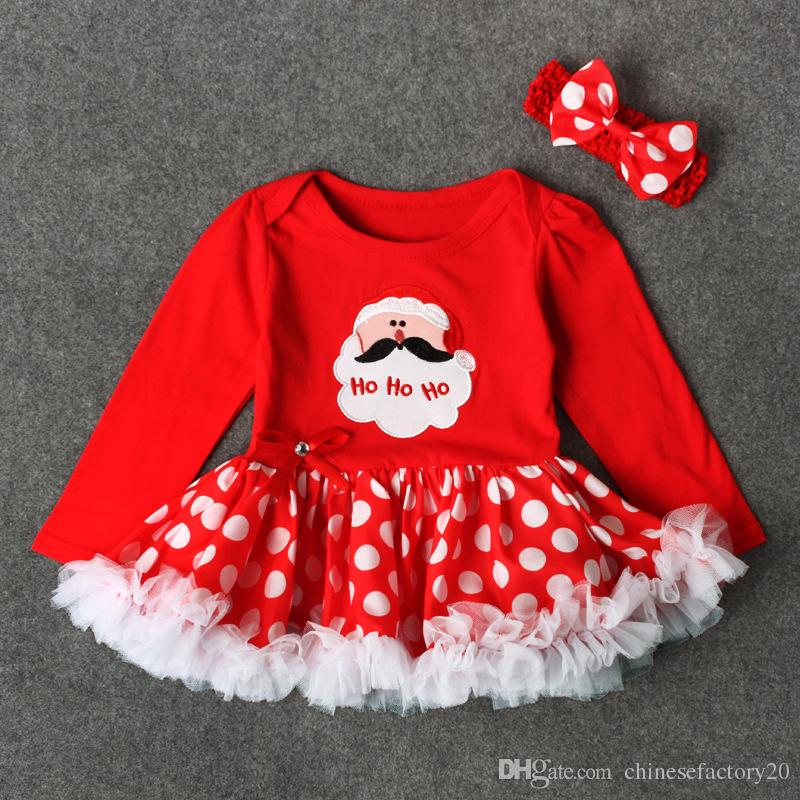 Baby Girls Christmas Long Sleeve Tutu Skrit Romper Outfits + Dot Bow Headband Tulle Lace Snowflake Skirts Letter Romper Tops