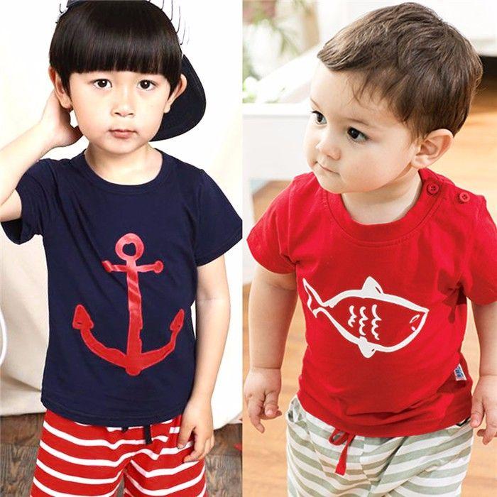 Kids Boy Cartoon Clothing Set Kids Baby Boy Summer Clothes Sets Pirate Ship Printed T-Shirt+ Stripe Pant