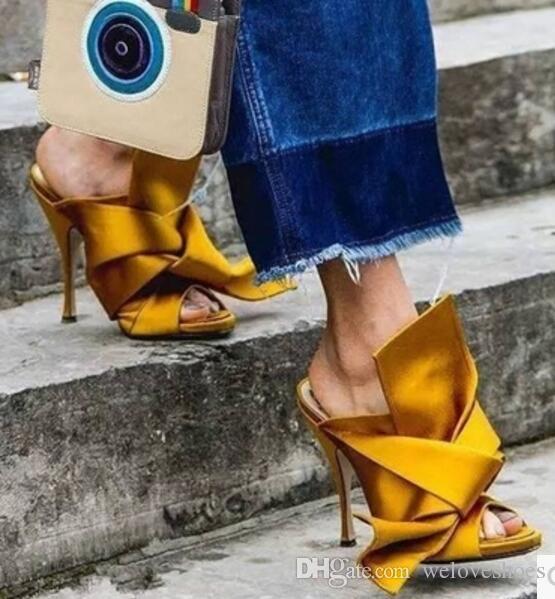 2017 nuevas mujeres de la llegada zapatos de tacón alto sandalias BOWTIE resbalón en sandalias de gladiador zapatos atractivos del partido de color amarillo diapositivas talón fino