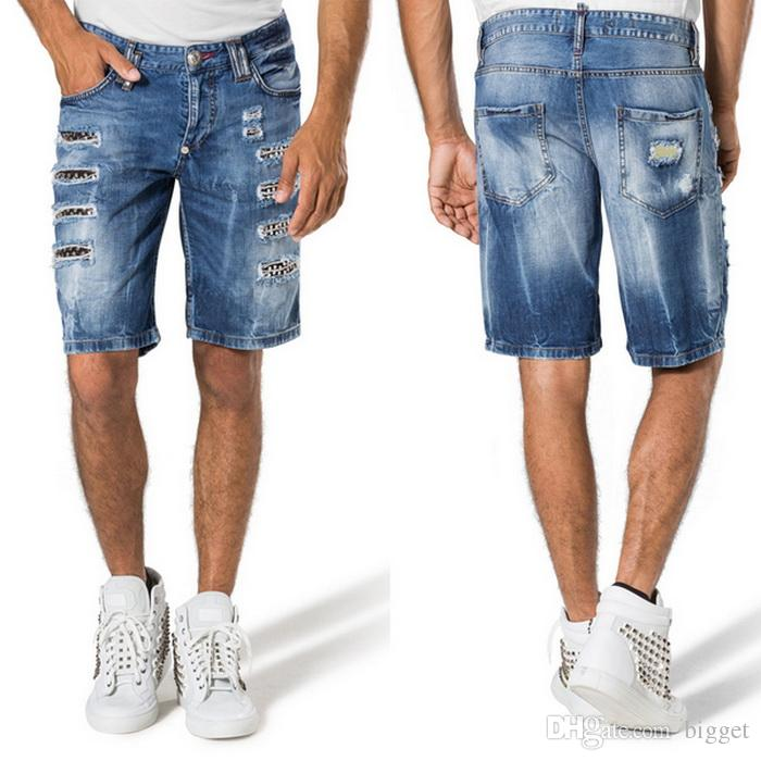 2017 Studs Denim Shorts Mens Luxury Brand Design Damage Wash Fade ...