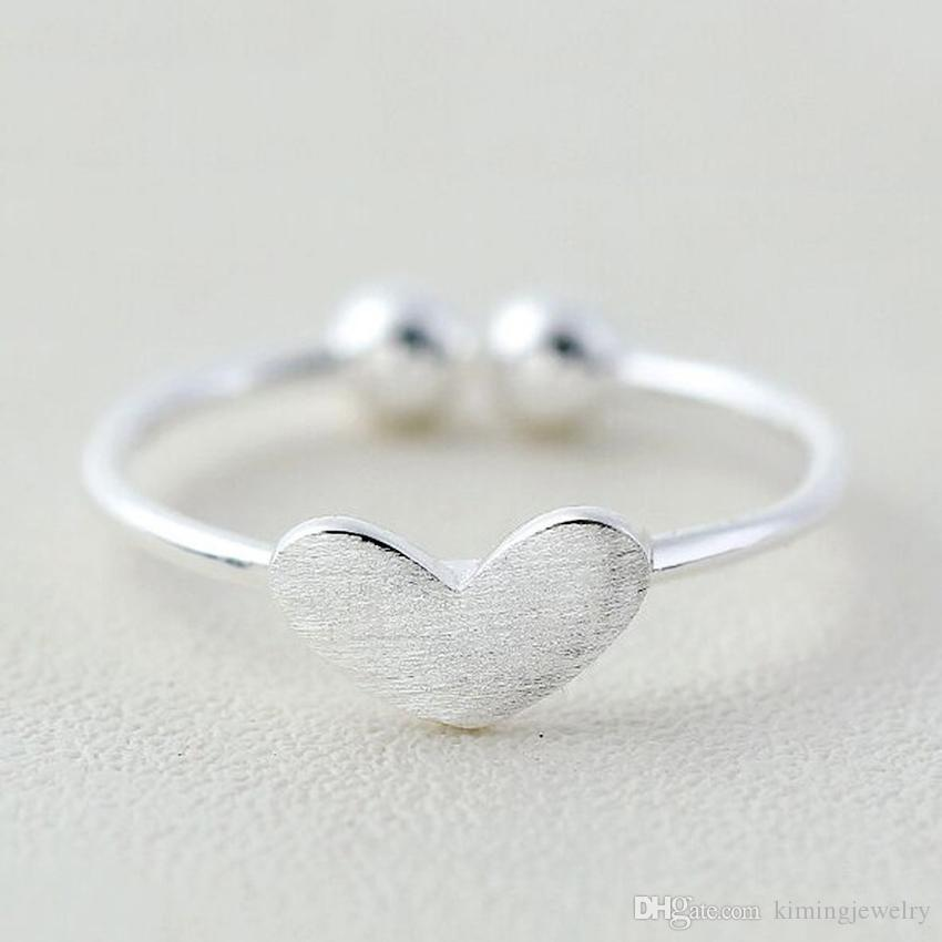 Fashion New Real 925 Sterling Silver Rings For Women Girl Statement Jewelry Pure Silver Heart Rings Adjustable Open Rings