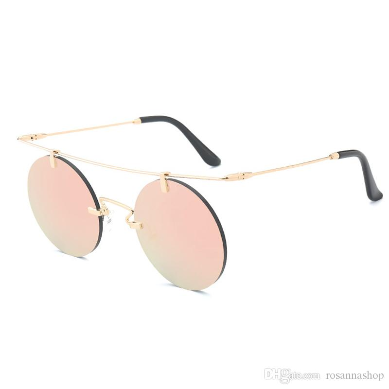 5709c308e Women Men Boundless Round Sunglasses Steampunk Shades MultiColor Gradient  Mirror Lens Goggles Designer Vintage Sun Glasses YW029 Women Men Boundless  Round ...