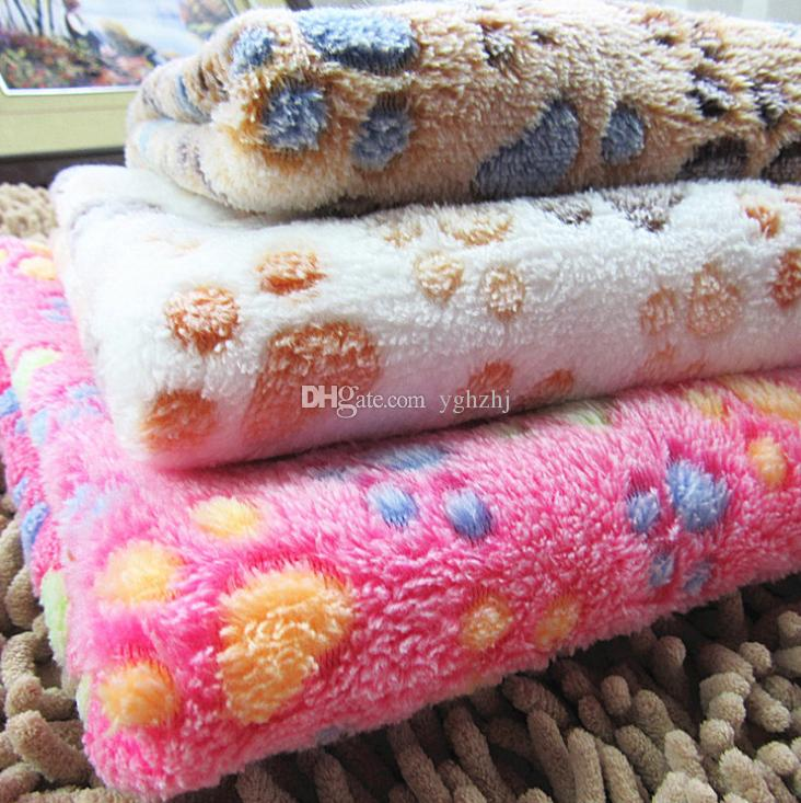 Cute Warm Pet Bed Mat Cover Small Medium Large Towl Paw Handcrafted Print Cat Dog Fleece Soft Blanket Puppy Winter Pet Supplies free shippin
